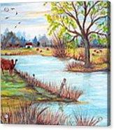 Wonderful Farm Home Acrylic Print by Janna Columbus
