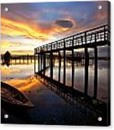 Wood Bridge In Sunset Thailand Acrylic Print by Arthit Somsakul