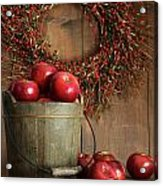 Wood Bucket Of Apples For The Holidays Acrylic Print