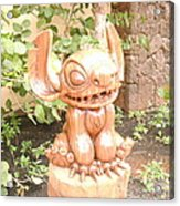 Wood Carving Of Stitch Acrylic Print