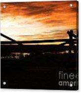 Wood Fence Sunrise Acrylic Print