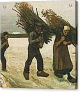 Wood Gatherers In The Snow Acrylic Print
