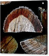 Wood. Piled Up Logs. Acrylic Print