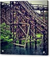 Wooded #rollercoaster At #cedarpoint In Acrylic Print