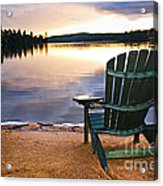 Wooden Chair At Sunset On Beach Acrylic Print