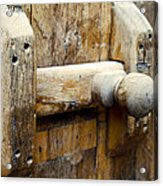Wooden Door Bolt Detail Acrylic Print