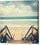 Wooden Steps At Beach Acrylic Print