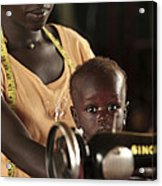 Working Mother And Child, Uganda Acrylic Print by Mauro Fermariello