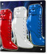 World Domination In Red White And Blue Boots Acrylic Print