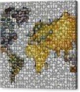 World Map Coin Mosaic Acrylic Print