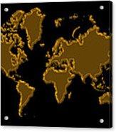 World Map Gold Acrylic Print