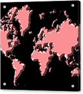 World Map Pink Acrylic Print