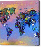 World Peace Tye Dye Acrylic Print