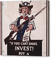 World War I, Poster Showing Uncle Sam Acrylic Print by Everett