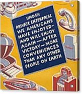 World War II Poster Reassuring Acrylic Print by Everett