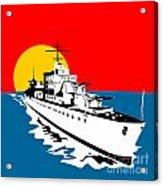 World War Two Battleship Warship Cruiser Retro Acrylic Print