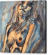 Worried Young Nude Female Teen Leaning And Filled With Angst In Orange And Blue Watercolor Acrylics Acrylic Print