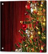 Xmas Tree On Red Acrylic Print by Carlos Caetano