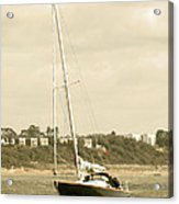 Yacht Entering Christchurch Harbour Acrylic Print