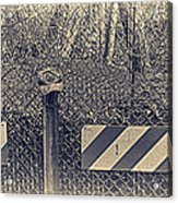 Yankees Cap On The Subway Fence Acrylic Print