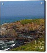 Yaquina Head Lighthouse And Bay - Posterized Acrylic Print