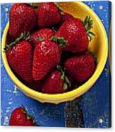 Yellow Bowl Of Strawberries Acrylic Print