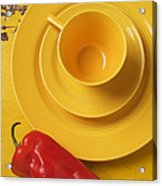 Yellow Cup And Plate Acrylic Print by Garry Gay