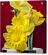 Yellow Daffodils In Checkered Vase Acrylic Print