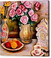 Yellow Daffodils Red Roses  Peaches And Oranges With Tea Cup  Acrylic Print