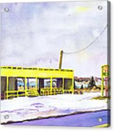 Yellow Farm Stand Winter Orient Harbor Ny Acrylic Print by Susan Herbst