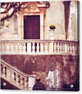 Yellow Flowers In A Vase In Taormina Sicily Acrylic Print