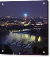 Yellow Light Over The Niagara Falls  - Canada Acrylic Print