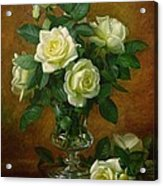 Yellow Roses Acrylic Print by Albert Williams