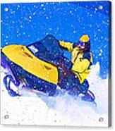Yellow Snowmobile In Blizzard Acrylic Print