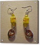 Yellow Swirl Follow Your Heart Earrings Acrylic Print by Jenna Green