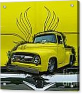 Yellow Truck In Truck Grill Acrylic Print