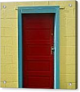 Yellow Wall And Red Door Acrylic Print