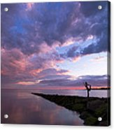 Yoga Dancer Asana On Beach Jetty Acrylic Print