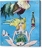 Yoga Girl With Cock - Bottle Of Wine And Egg Acrylic Print