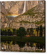 Yosemite Falls Moonbow Reflection Acrylic Print