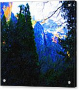 Yosemite Snow Mountain Tops . Vertical Cut Acrylic Print by Wingsdomain Art and Photography