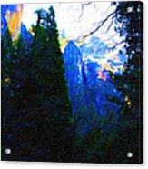 Yosemite Snow Mountain Tops . Vertical Cut Acrylic Print