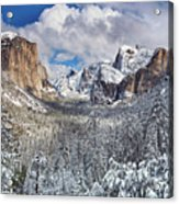 Yosemite Valley In Snow Acrylic Print