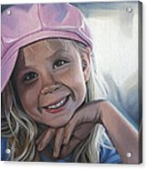 Young Girl In Pink Hat Acrylic Print