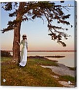 Young Lady In Edwardian Clothing By The Sea Acrylic Print
