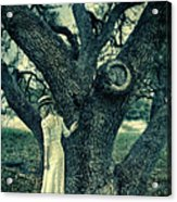 Young Lady In White By Tree Acrylic Print