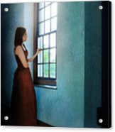 Young Lady Looking Out Window Acrylic Print