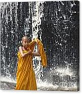 Young Monk In Front Of Waterfall Acrylic Print