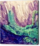 Young Statue Of Liberty Falling From Grace Female Figure Portrait Painting In Green Purple Blue Acrylic Print