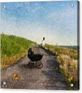 Young Woman And Baby Buggy On Dirt Road  Acrylic Print